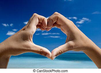 manos, elaboración, un, forma corazón