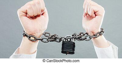 manos, empresa / negocio, encadenado, mujer