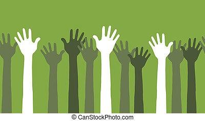 manos, en el aire, seamless