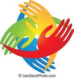 manos, en, un, forma del diamante, logotipo
