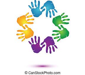 manos, equipo, logotipo, vector