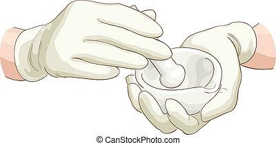 manos, farmacéutico, con, un, mano de mortero, y, mortar.