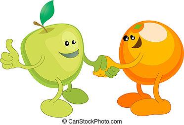 manos, felizmente, naranja, manzana, sacudida