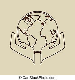 manos, globo, concepto, tenencia, icono, ecología