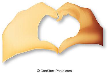 manos, hacer, un, corazón, forma