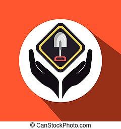 manos, herramientas, construcción, símbolo