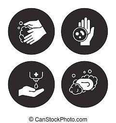 manos, higiene, iconos, conjunto