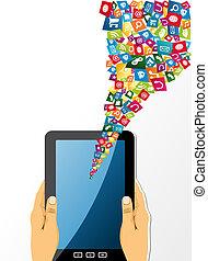 manos humanas, asideros, computadora personal tableta, con, app, icons.
