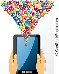 manos humanas, asideros, un, computadora personal tableta, social, medios, icons.