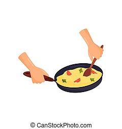 manos humanas, tenencia, cacerola, con, un, delicioso, plato, cocina, proceso, vector, ilustración, en, un, fondo blanco