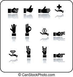 manos, icono, conjunto