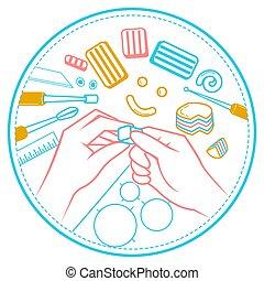 manos, ilustración, hechaa mano