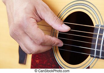 manos, juego, guitarra acústica, cicatrizarse