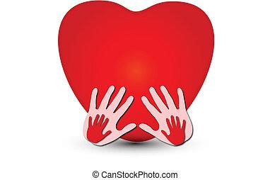 manos juntos, con, un, corazón, logotipo