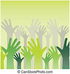 manos levantar, en el aire, y, aplausos