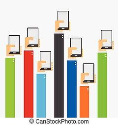 manos levantar, tenencia, smartphone, plano, diseño