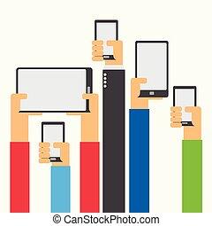 manos levantar, tenencia, smartphone, y, tableta, plano, diseño