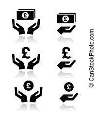 manos, libra, moneda, billete de banco