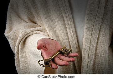 manos, llave, jesús