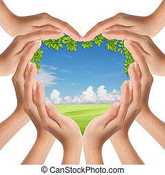 manos, marca, forma corazón, cubierta, naturaleza