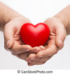 manos masculinas, con, pequeño, corazón rojo