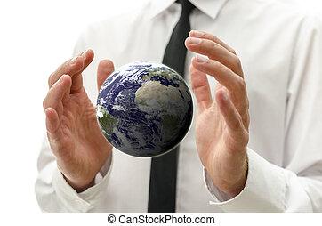 manos masculinas, tenencia, la tierra, globo