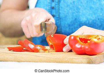 manos, mujer, corte, paprika
