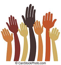manos, o, voluntariado, vector, votación