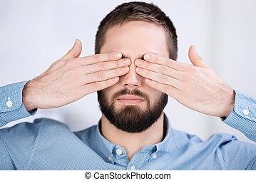 manos, ojos, el suyo, hombre de negocios, cubierta