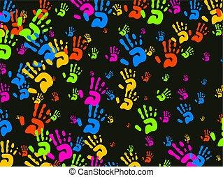 manos, papel pintado