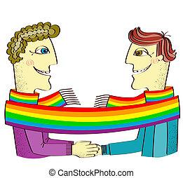 manos, pareja, juntos., feliz, homosexuales, ilustración, ...