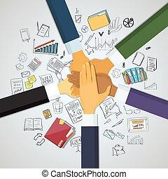 manos, personas empresa, líder, equipo, pila del apilado, ...