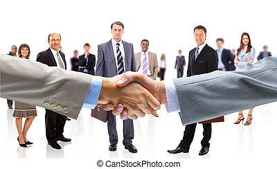 manos, personas empresa, sacudida