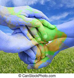 manos, pintado, como, un, mapa, representar, global,...