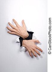 manos, por, el, agujero, en, papel