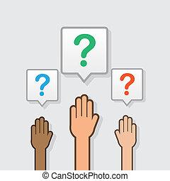 manos, pregunta, levantado