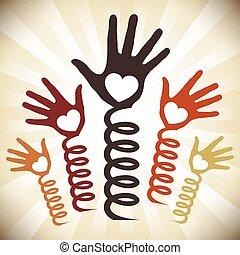 manos, primavera, acción, vector.