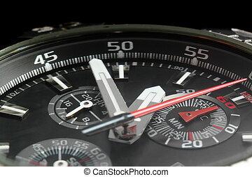manos, reloj, hombre