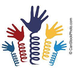 manos, rollo, vector., manantiales