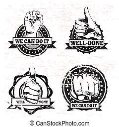 manos, sellos