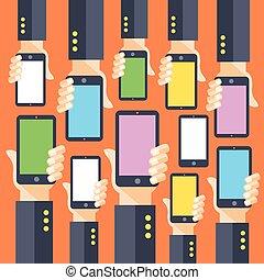 manos, smartphones