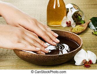manos, spa., manicura, concepto
