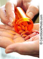 manos, sujetar pastillas