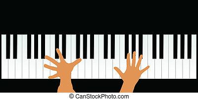 manos, teclas de piano, vector, illustra