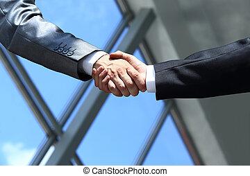 manos temblar, oficina, empresarios