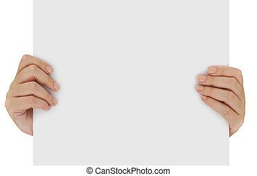 manos, tenencia, blanco, blanco, papel, aislado, encima, blanco