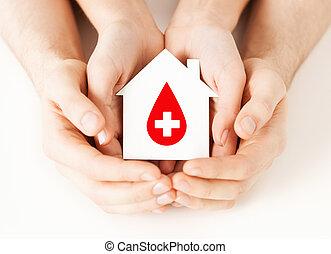 manos, tenencia, casa, con, donante, señal
