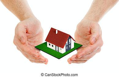 manos, tenencia, casa pequeña, aislado, blanco