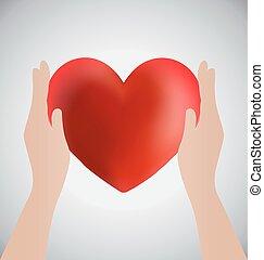 manos, tenencia, corazón, amor, concepto