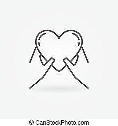 manos, tenencia, corazón, icono